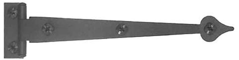 6 1/2 Inch Cast Iron Strap Hinge: Pair of Black Matte Iron Strap Hinges (Offset)