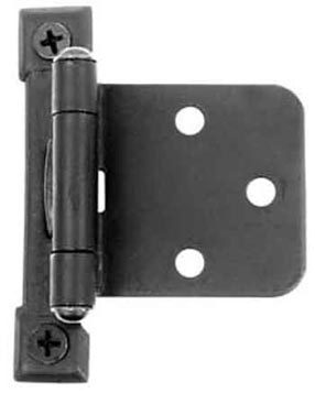 Self Closing Cast Iron Butt Hinge: No Mortise Pair of Black Matte Iron Hinges (Flush Finish)