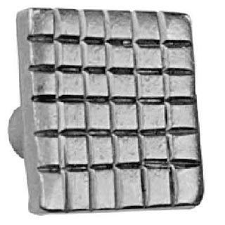 1 1/4 Inch Stainless Steel Knob: Checkered Steel (Square)