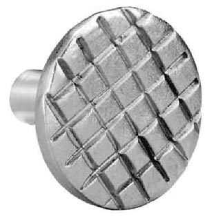 1 1/4 Inch Stainless Steel Knob: Checkered Steel (Round)