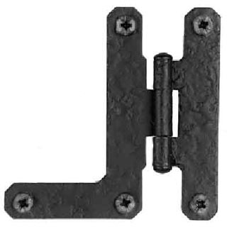 Pair 3 Inch HL Hinge: Black Matte Iron Hinges (Flush Finish)