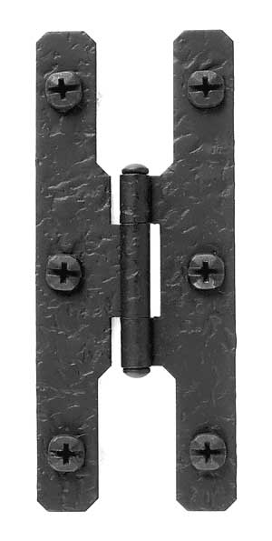 4 1/2 Inch Cast Iron H Hinge: Pair of Black Matte Iron Hinges (Flush Finish)