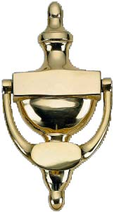 8 Inch (4 1/2 Inch c-c) Traditional Style Door Knocker (Polished Brass Finish)
