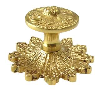 3 3/8 Inch Solid Brass Rococo Victorian Knob (Polished Brass Finish)