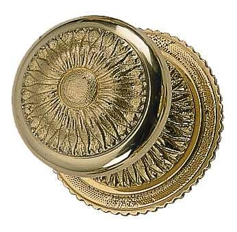 Solid Brass Sunburst Style Door Knob Set (Polished Brass Finish)