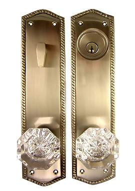 Georgian Roped Entryway Set (Satin Nickel Finish) Crystal Knobs