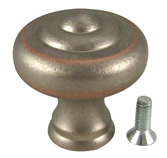 1 1/4 Inch Yukon Solid Brass Knob (Weathered Nickel and Copper Finish)