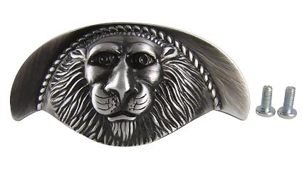 3 3 9/16 Inch Roman Lion Solid Brass Cup Pull (Antique Pewter Finish)