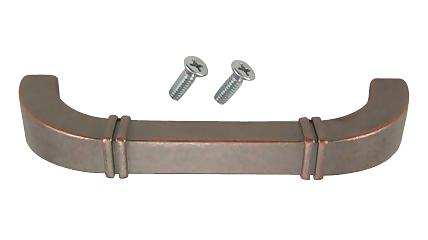 4 1/8 Inch Country Style Cabinet Pull (Weathered Nickel and Copper Finish)