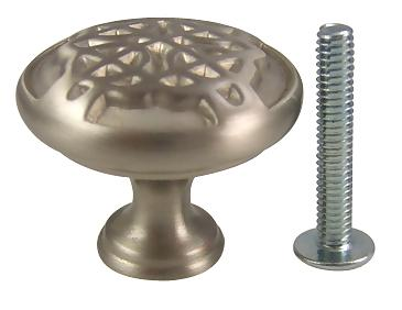 1 3/16 Inch Highlander Solid Brass Knob (Satin Nickel Finish)