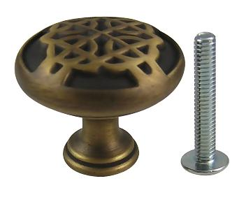 1 3/16 Inch Highlander Solid Brass Knob (Weathered Brass Finish)