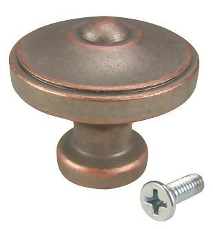 1 3/8 Inch Country Style Cabinet Knob (Weathered Nickel and Copper)