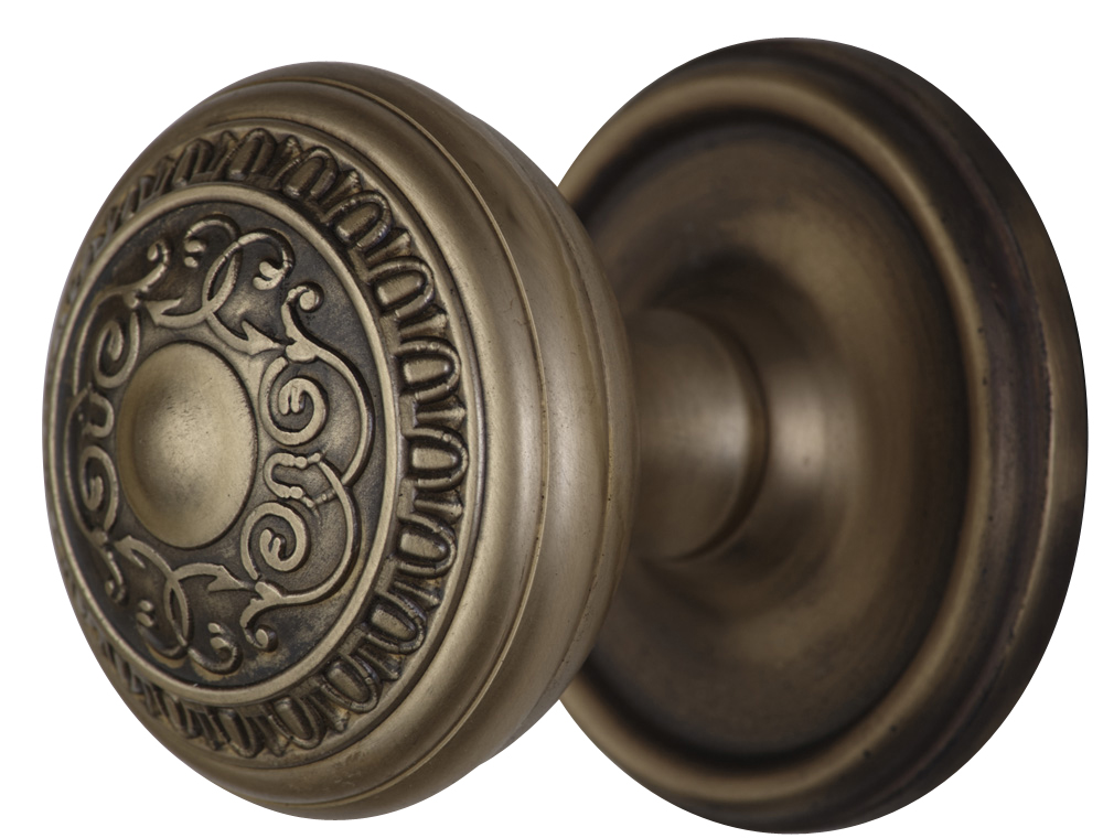 2 Inch Romanesque Door Knob With Victorian Style Rosette (Antique Brass Finish)