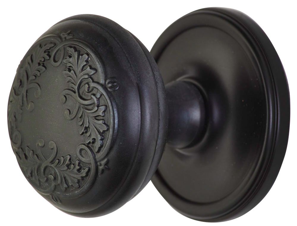 2 Inch Floral Leaf Door Knob With Victorian Style Rosette (Oil Rubbed Bronze Finish)