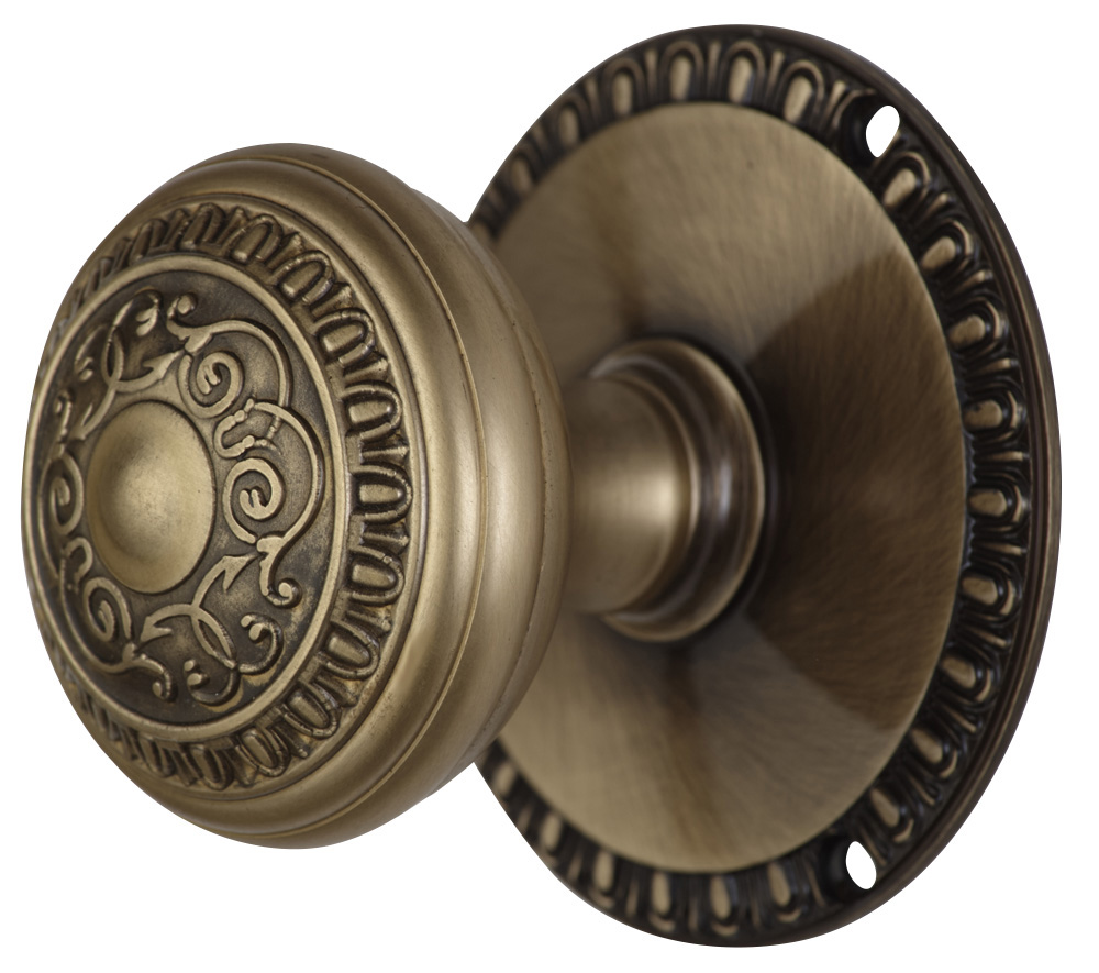 2 Inch Romanesque Door Knob With Egg & Dart Rosette (Antique Brass Finish)