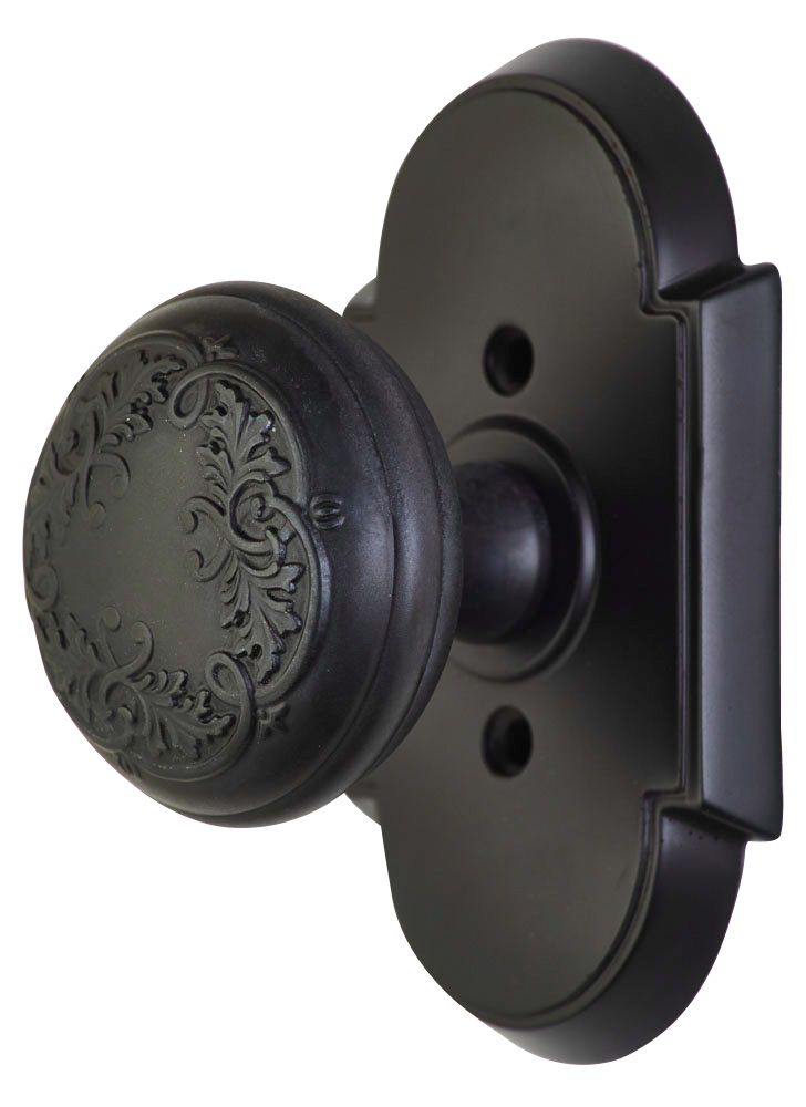 2 Inch Floral Leaf Door Knob With Arched Rosette (Oil Rubbed Bronze Finish)