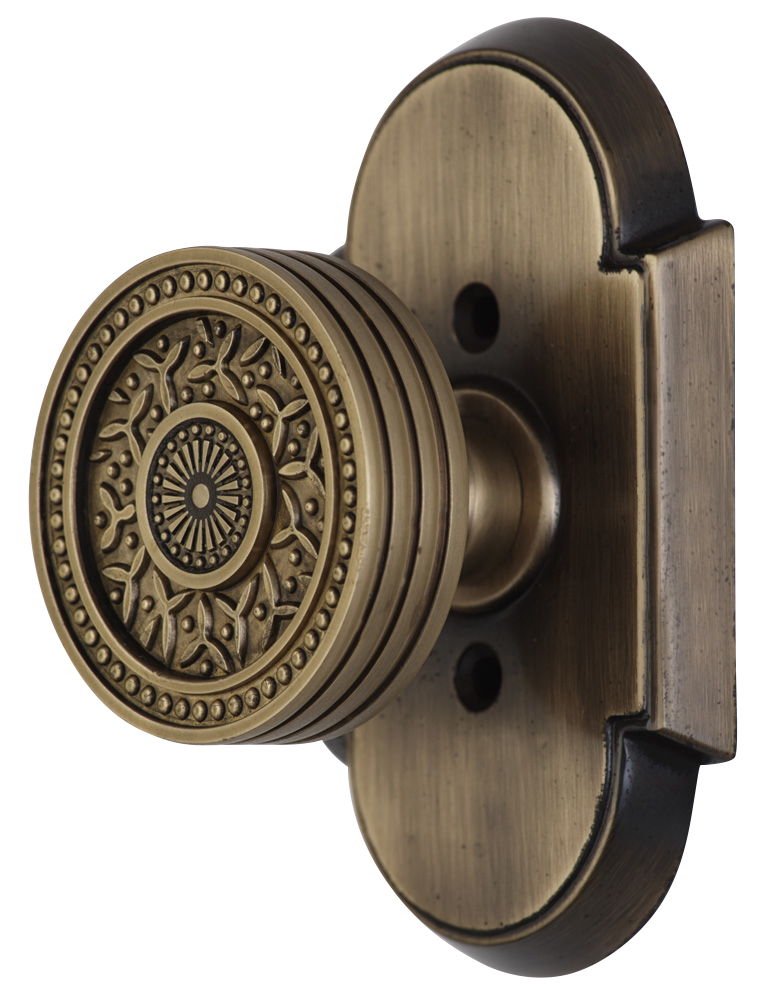 2 1/4 Inch Sunburst Petal Door Knob With Arched Rosette (Antique Brass Finish)