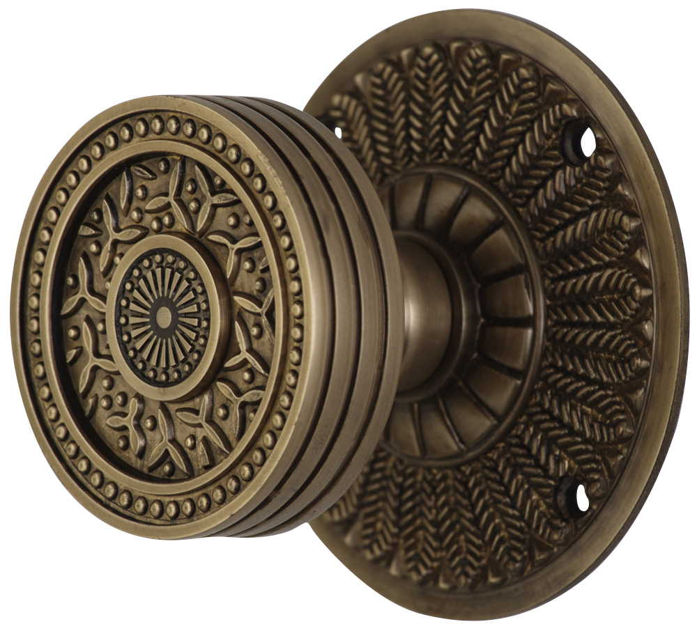 2 1/4 Inch Sunburst Petal Door Knob With Feather Rosette (Antique Brass Finish)