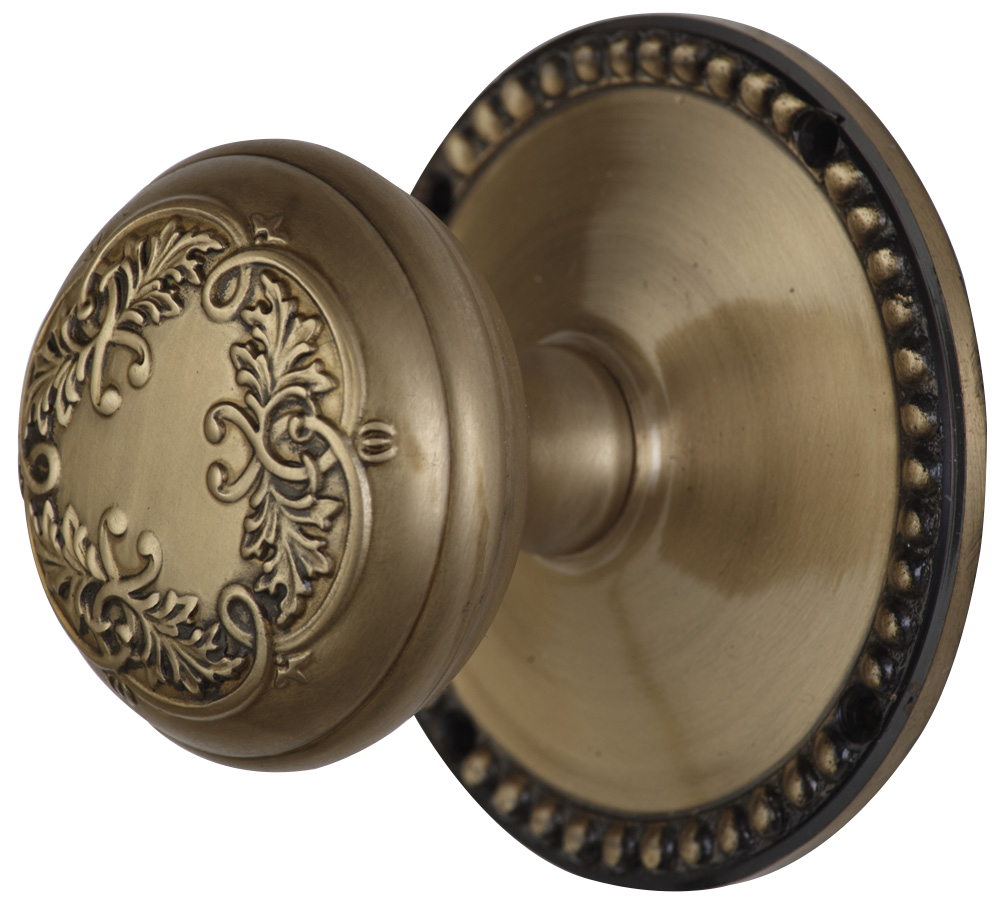 2 Inch Floral Leaf Knob With Beaded Rosette (Antique Brass Finish)