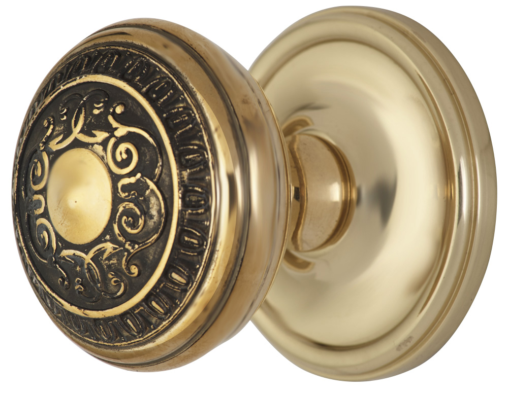 2 Inch Romanesque Door Knob With Victorian Style Rosette (Polished Brass Finish)