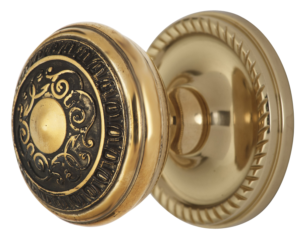 2 Inch Romanesque Door Knob With Rope Rosette (Polished Brass Finish)