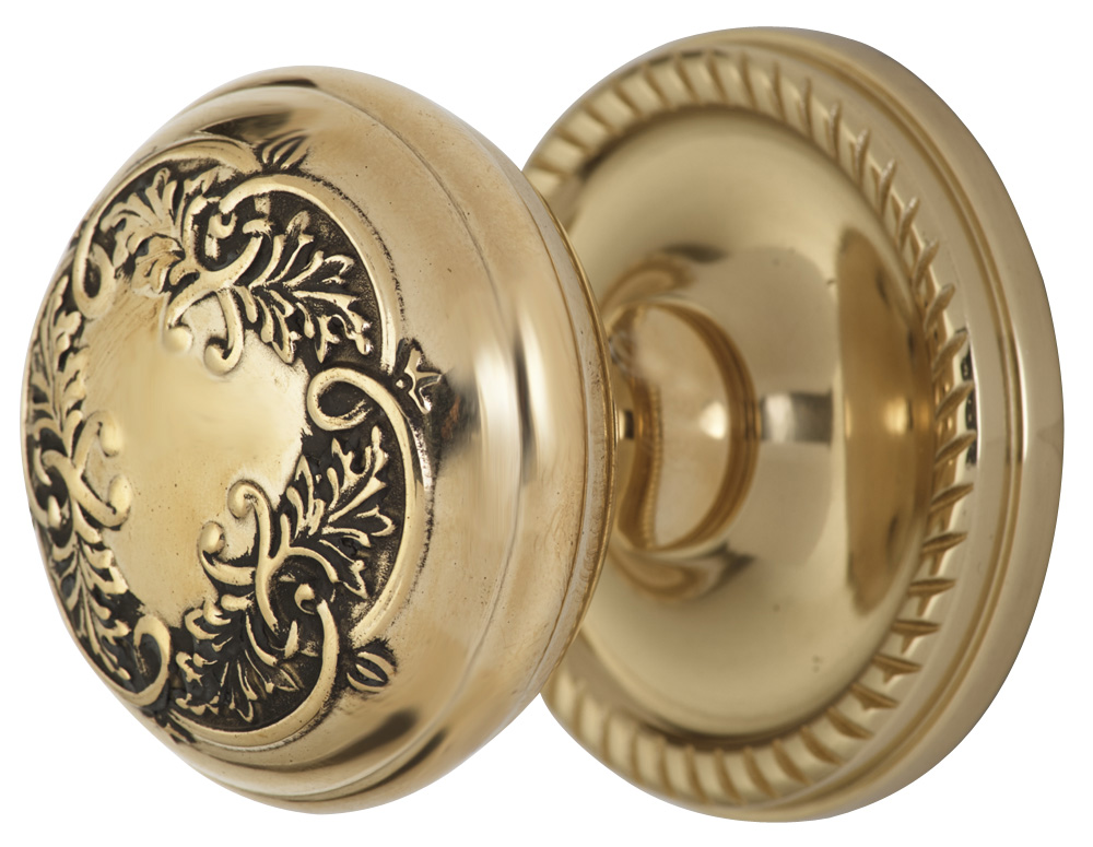 2 Inch Floral Leaf Knob With Roped Rosette (Polished Brass Finish)width=