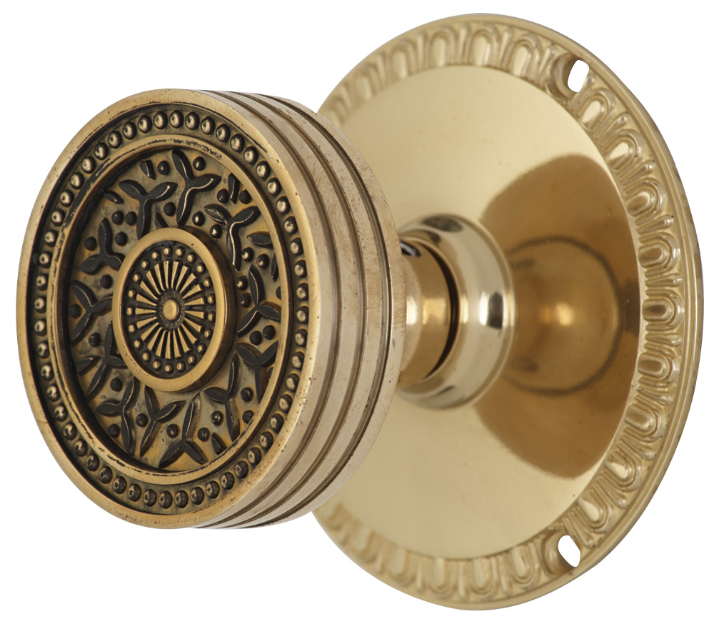 2 1/4 Inch Sunburst Petal Door Knob With Egg & Dart Rosette (Polished Brass Finish)