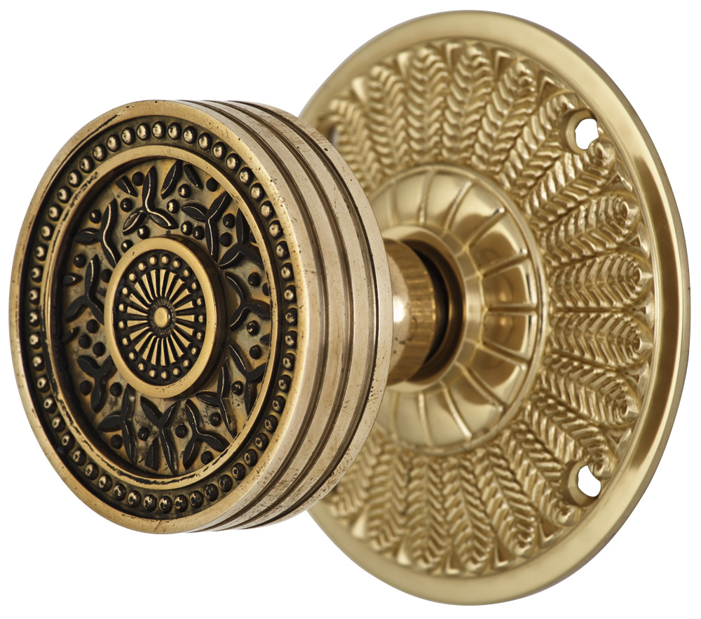 2 1/4 Inch Sunburst Petal Door Knob With Feather Rosette (Polished Brass Finish)