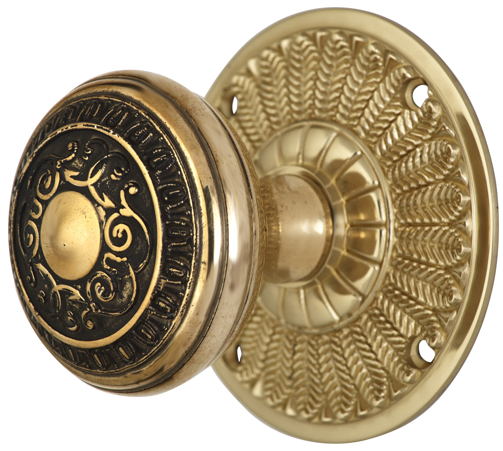 2 Inch Romanesque Door Knob With Feather Rosette (Polished Brass Finish)