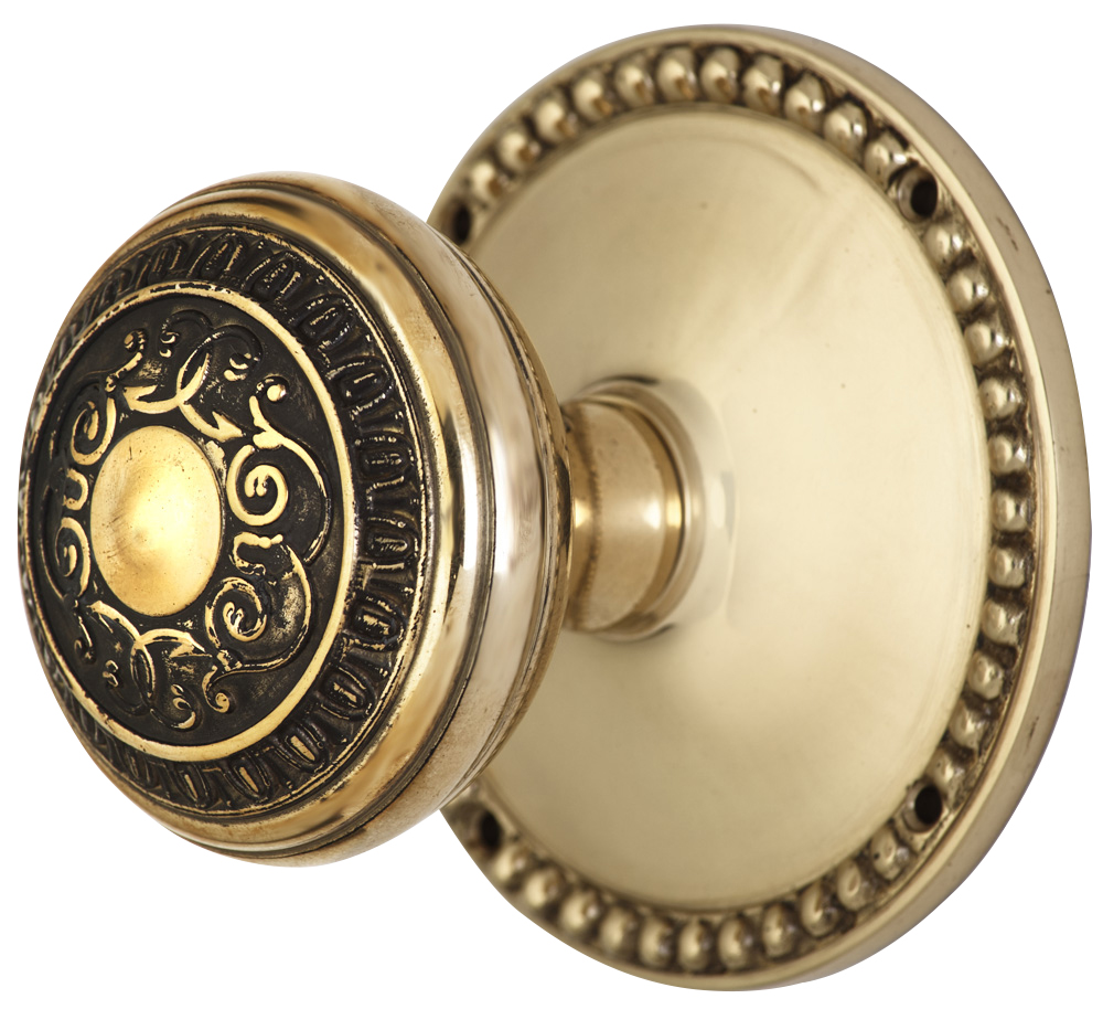 2 Inch Romanesque Door Knob With Beaded Rosette (Polished Brass Finish)