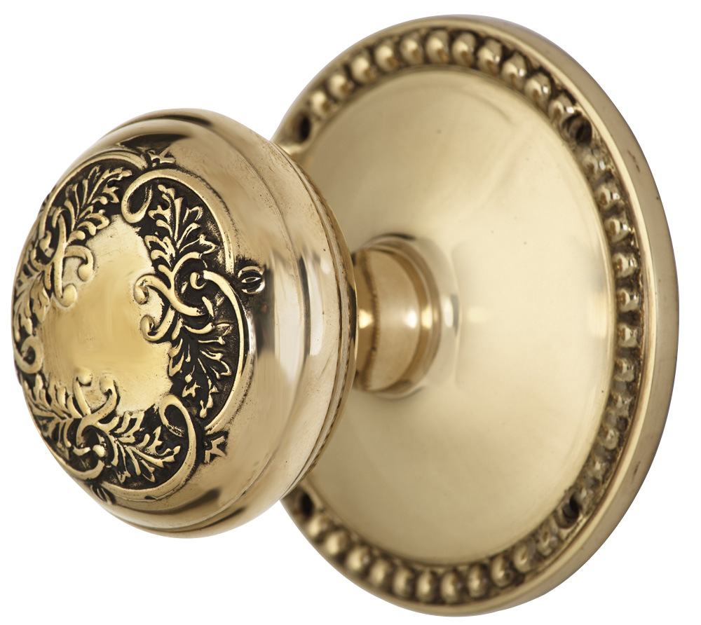 2 Inch Floral Leaf Knob With Beaded Rosette (Polished Brass Finish)