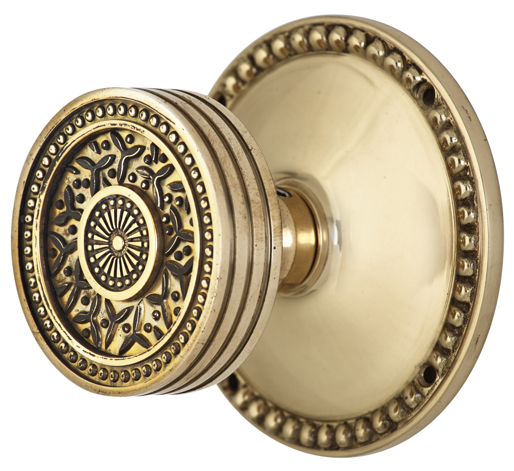 2 1/4 Inch Sunburst Petal Door Knob With Beaded Rosette (Polished Brass Finish)