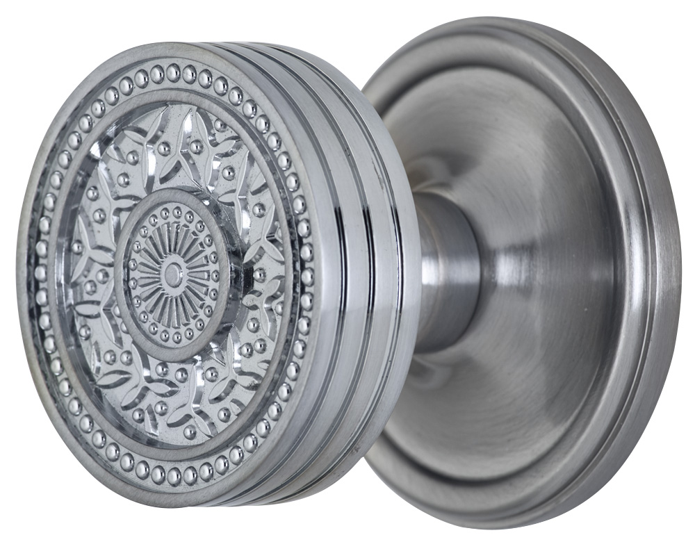 2 1/4 Inch Sunburst Petal Door Knob With Victorian Style Rosette (Brushed Nickel Finish)