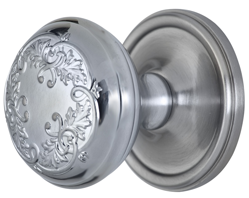 2 Inch Floral Leaf Knob With Victorian Style Rosette (Brushed Nickel Finish)