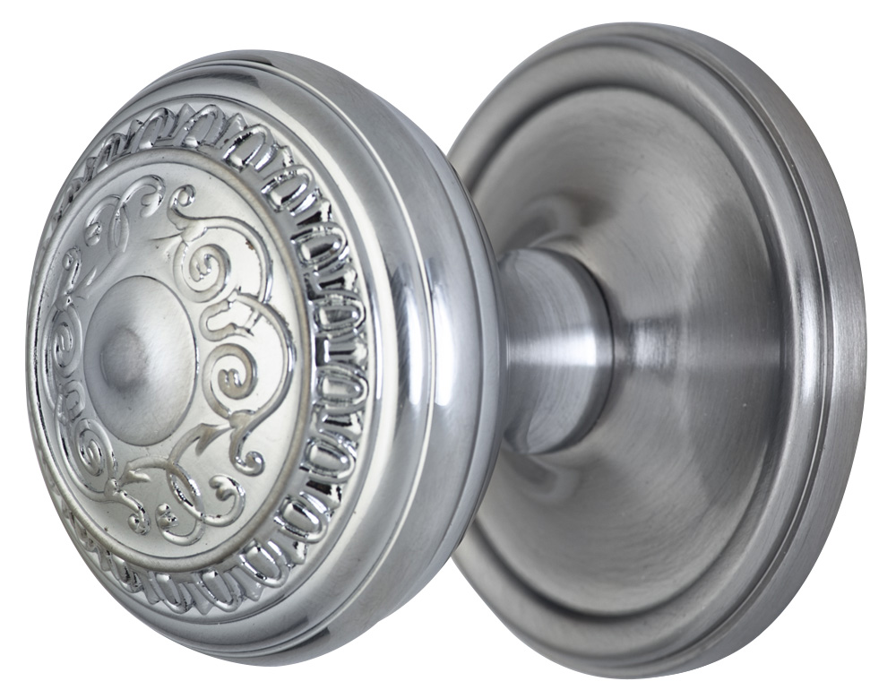 2 Inch Romanesque Door Knob With Victorian Style Rosette (Brushed Nickel Finish)