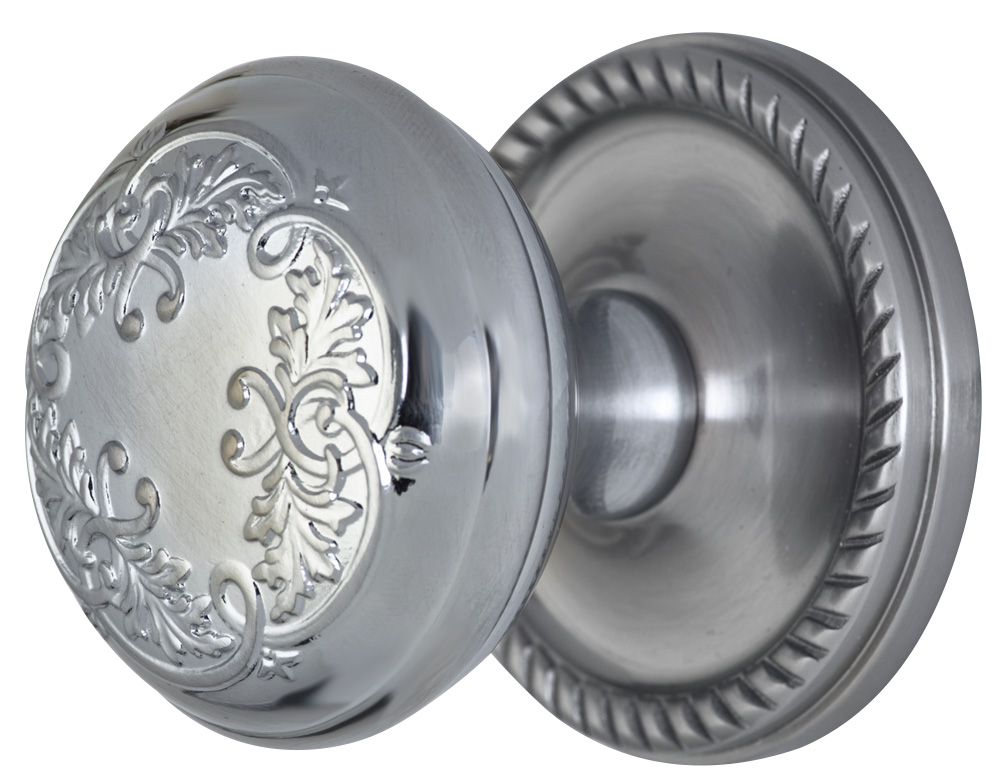2 Inch Floral Leaf Knob With Roped Rosette (Brushed Nickel Finish)