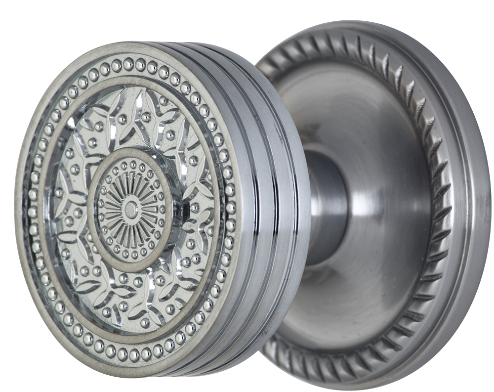 2 1/4 Inch Sunburst Petal Door Knob With Rope Rosette (Brushed Nickel Finish)