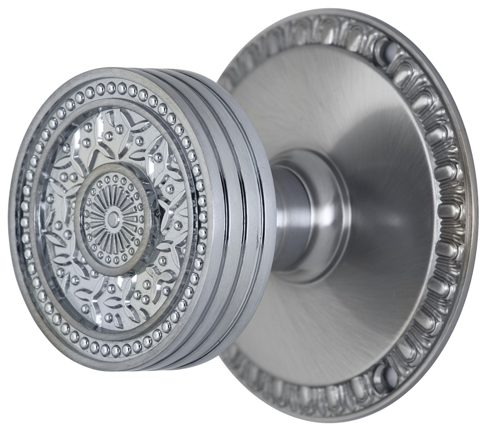 2 1/4 Inch Sunburst Petal Door Knob With Egg & Dart Rosette (Brushed Nickel Finish)