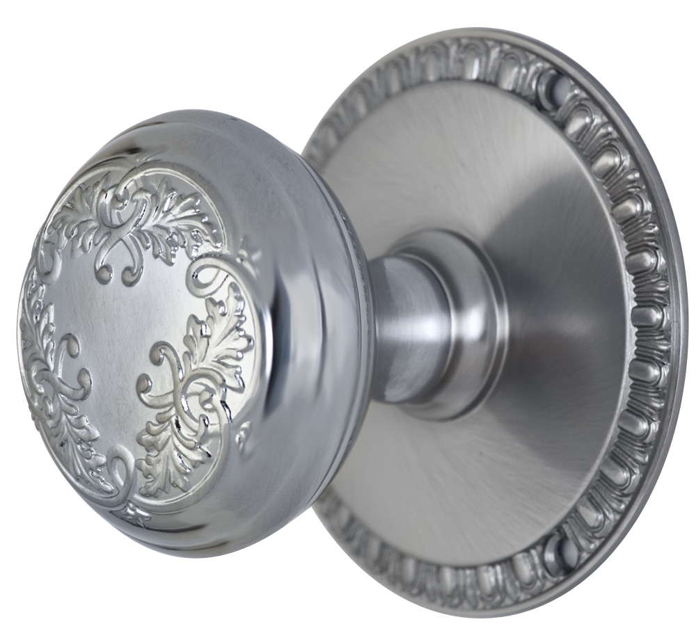 2 Inch Floral Leaf Knob With Egg & Dart Rosette (Brushed Nickel Finish)