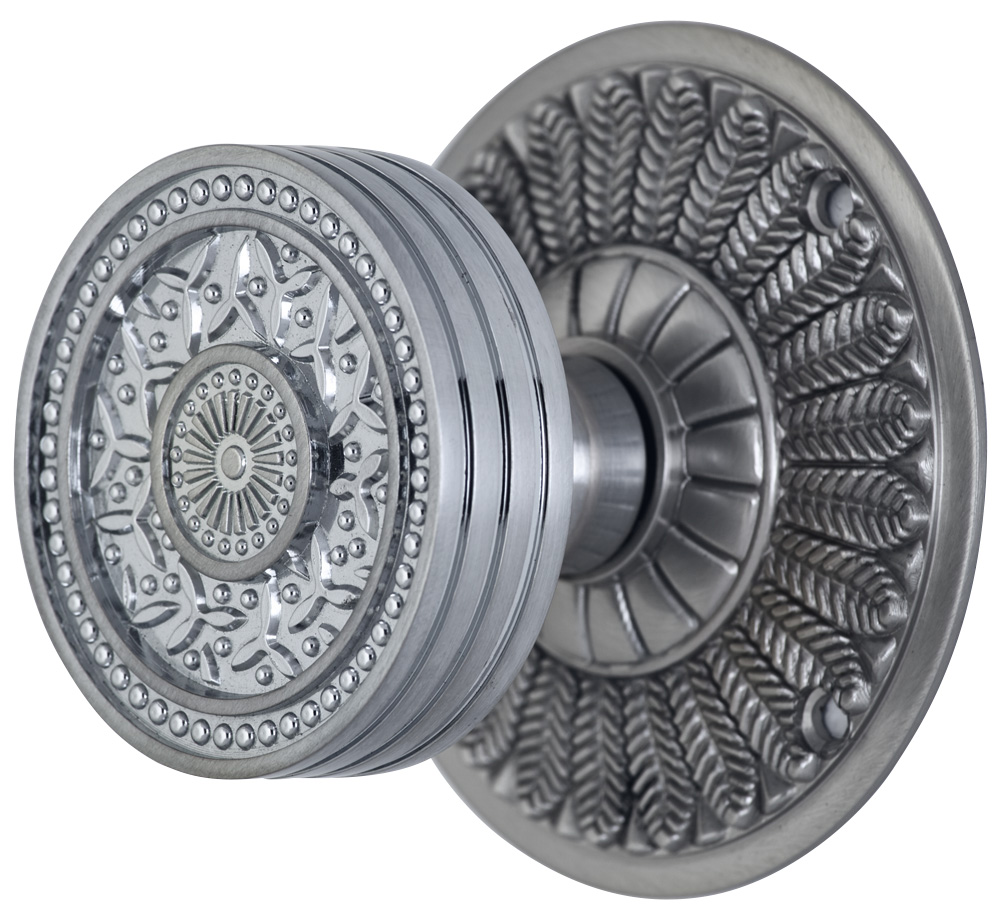 2 1/4 Inch Sunburst Petal Door Knob With Feather Rosette (Brushed Nickel Finish)