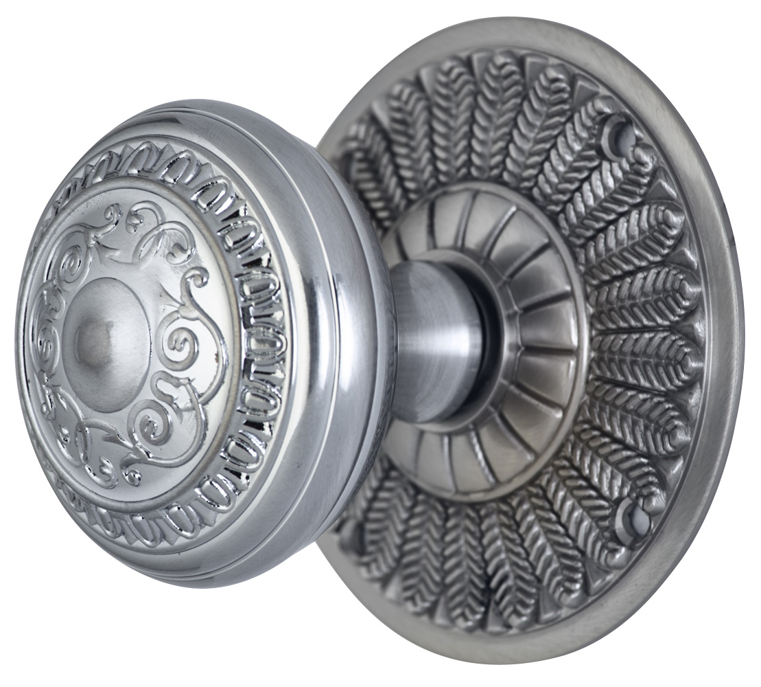 2 Inch Romanesque Door Knob With Feather Rosette (Brushed Nickel Finish)