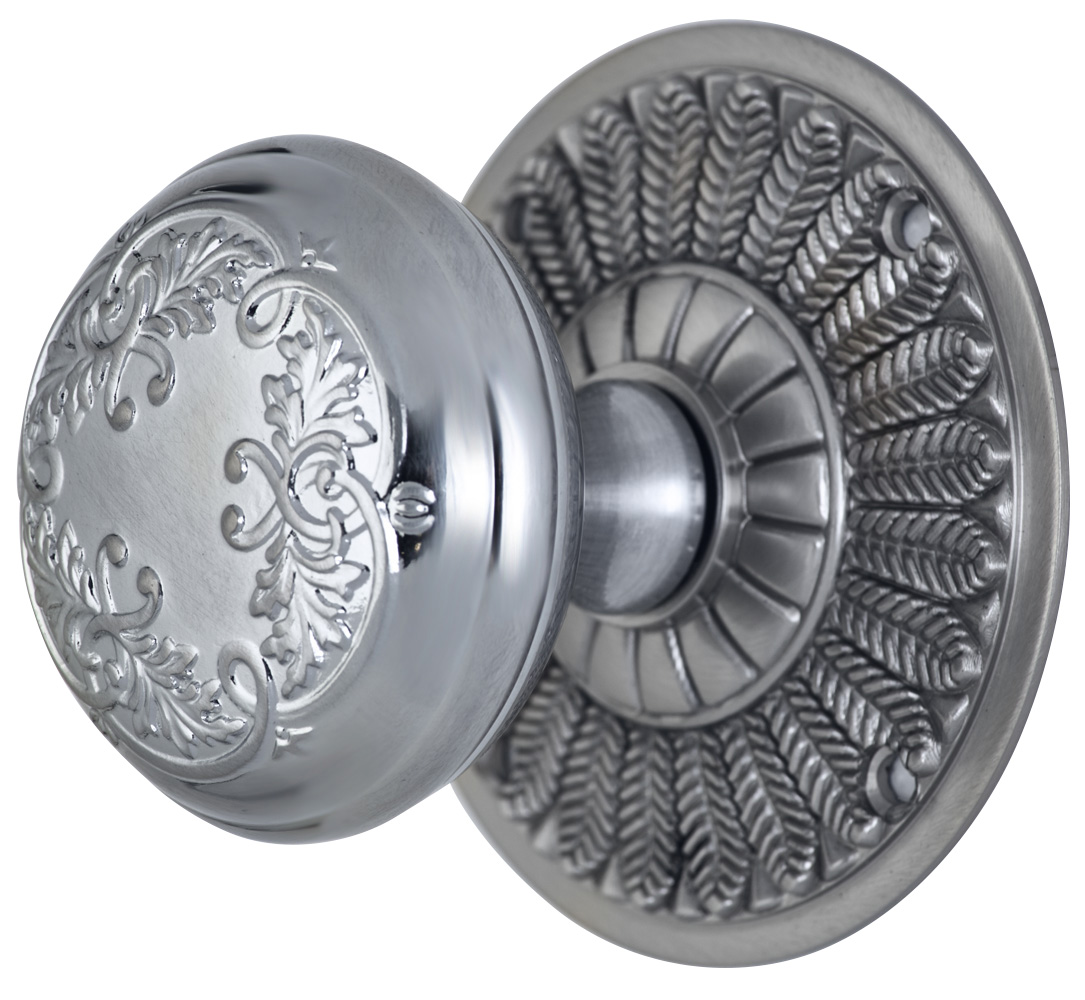 2 Inch Floral Leaf Knob With Feather Rosette (Brushed Nickel Finish)