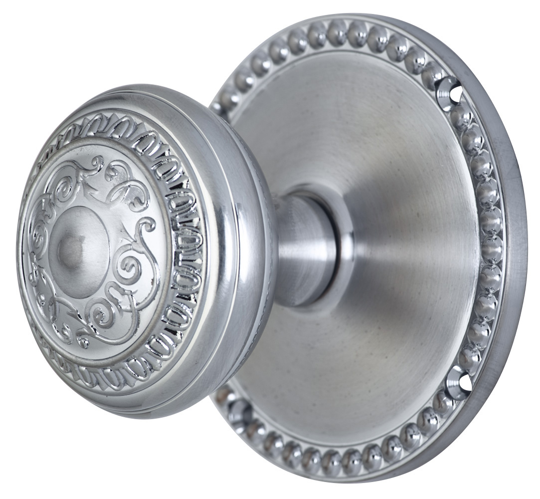 2 Inch Romanesque Door Knob With Beaded Rosette (Brushed Nickle Finish)