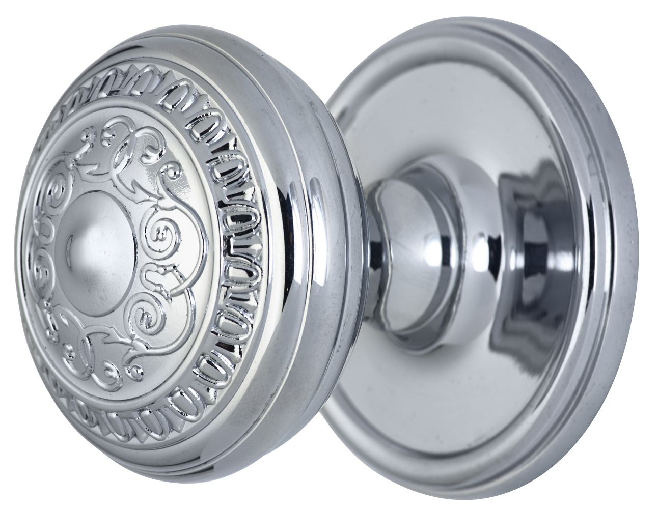2 Inch Romanesque Door Knob With Victorian Style Rosette (Polished Chrome Finish)
