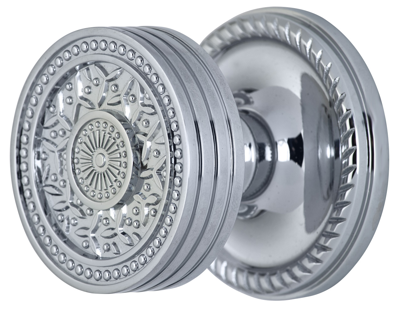 2 1/4 Inch Sunburst Petal Door Knob With Rope Rosette (Polished Chrome Finish)