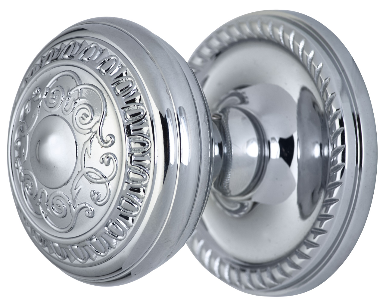 2 Inch Romanesque Door Knob With Rope Rosette (Polished Chrome Finish)