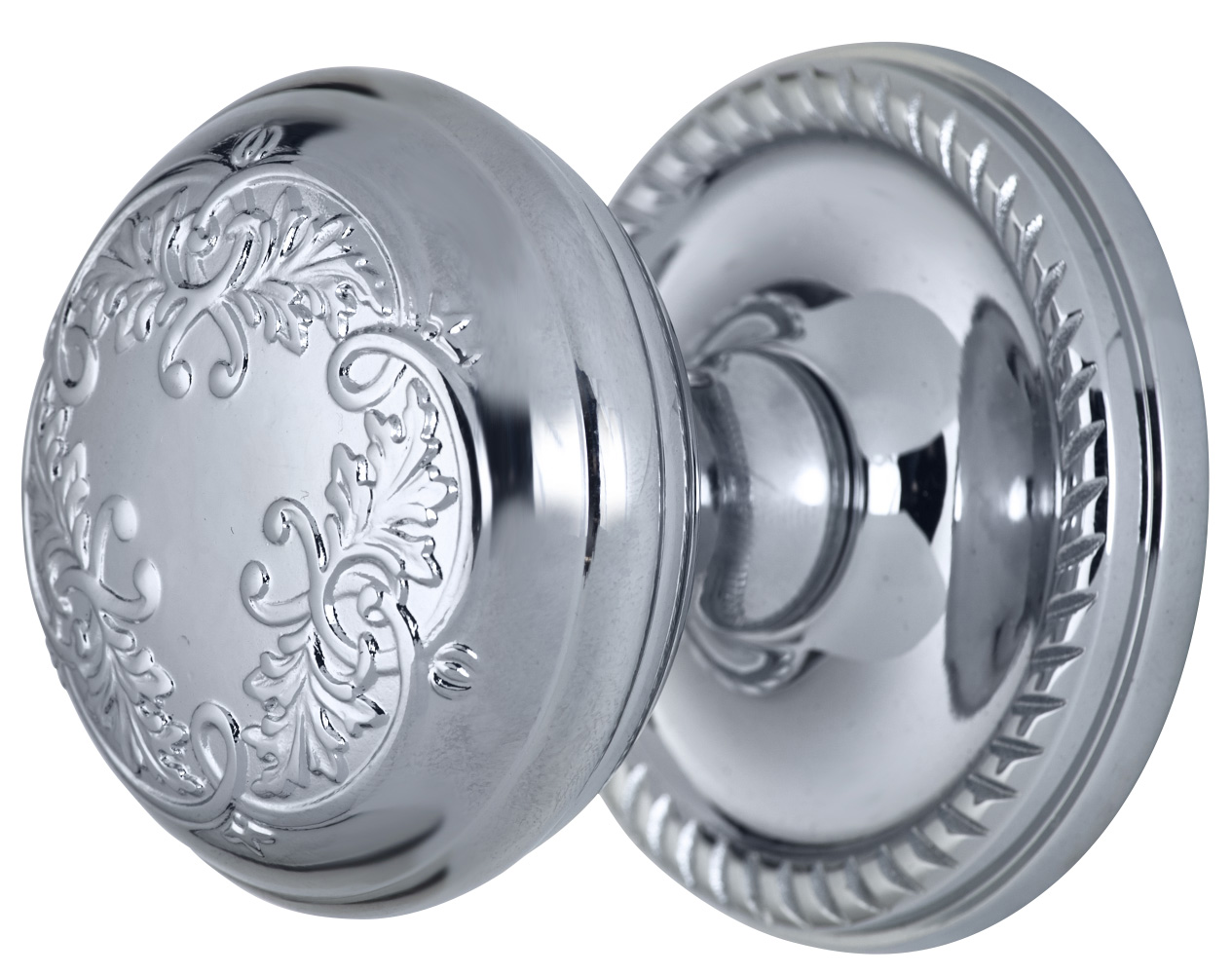 2 Inch Floral Leaf Knob With Roped Rosette (Polished Chrome Finish)