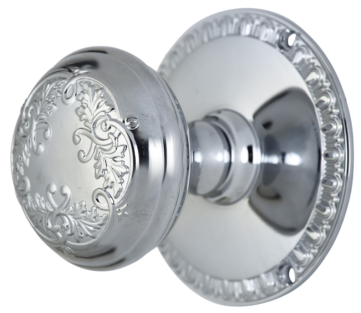 2 Inch Floral Leaf Knob With Egg & Dart Rosette (Polished Chrome Finish)