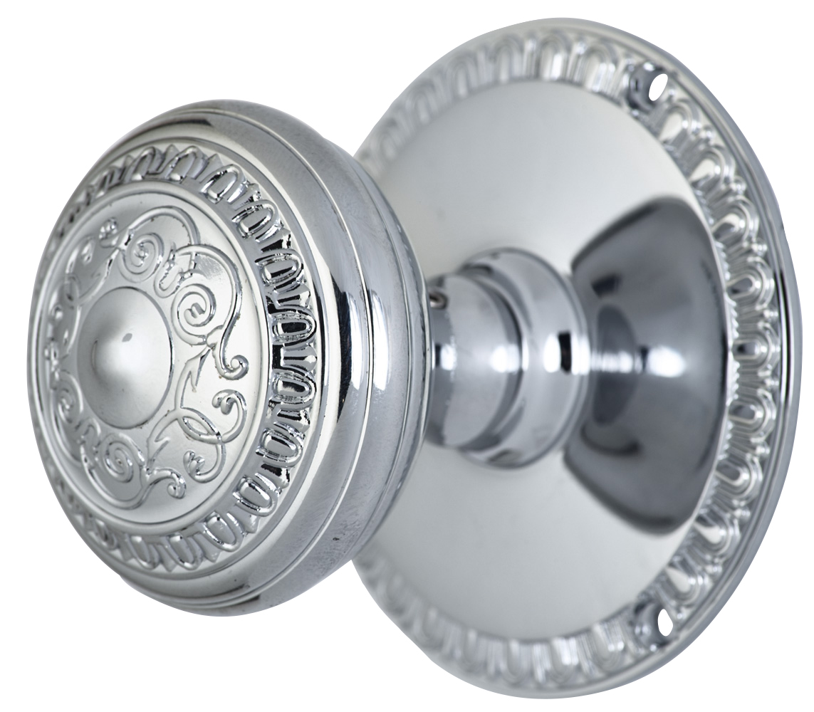 2 Inch Romanesque Door Knob With Egg & Dart Rosette (Polished Chrome Finish)