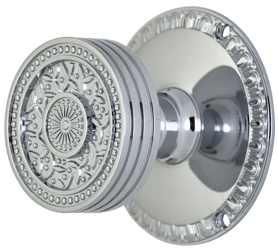 2 1/4 Inch Sunburst Petal Door Knob With Egg & Dart Rosette (Polished Chrome Finish)width=